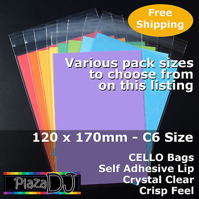 120x170mm CELLO Bags CELLOPHANE PP Crystal Clear C6 Size Adhesive Lip #PR120170