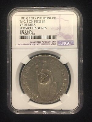 1837 Philippine 138.2 8 Reales T6 C/S On 1835 MM Peru Silver 8 Reales NGC VF
