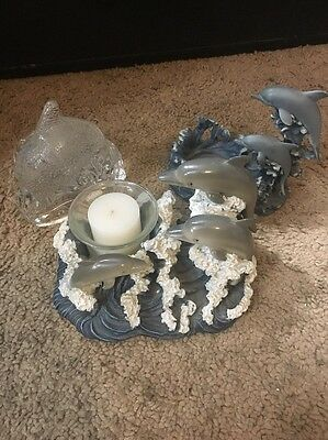 Dolphin Candle Holders Lot Of 3