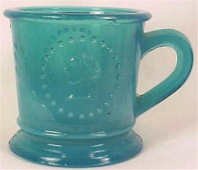 Antique Ceres Goddess of Liberty Childs Mug Blue Early American Pressed Glass