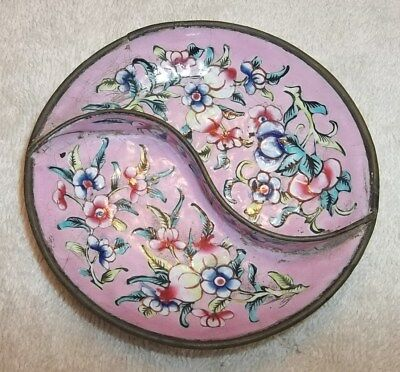 Antique Pink & Floral Hand Enameled Pin Dish Very Old Chinese Dish