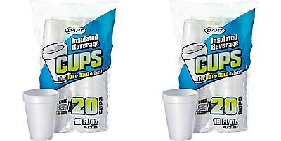 Dart 16 Oz. White Disposable Drink Foam Cups Hot and Cold Coffee Cup Pack of...