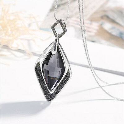 Women Sweater Necklace Chain with Double Rhombic Big Black Crystal Pendant
