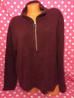 6d6108c987b6b VICTORIAS SECRET PINK Sherpa Fleece Half Zip Black Bling Small NWT ...
