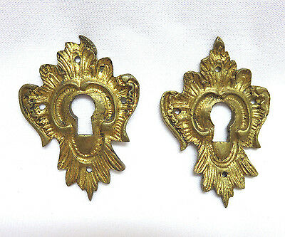 Pair Antique Gilded Brass Skeleton Keyhole Escutcheons Furniture Trim Hardware