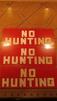 "Vintage Metal "" NO Hunting "" Sign , circa 1940 -1950 ""NOS"" ""W/ Historical Story"""