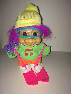 """VINTAGE """"RUSS TOY TROLL""""  8"""" TOY FIGURE with VIOLET HAIR..titled """"BORN TO SKI"""""""
