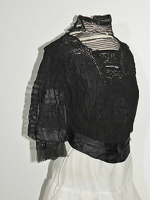 Victorian Hand Embroidered Silk Bodice w Lace MED