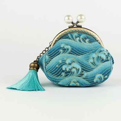Handmade Japanese Turquoise Waves Oriental Coin Purse Collectable #0143
