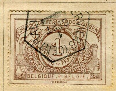 BELGIUM;  1895 early RAILWAY Parcel Post issue fine used 1Fr. value