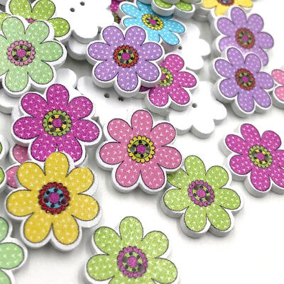 50pc Mix Flowers Christmas Kid's Wood Buttons Sewing Gift Crafts WB408