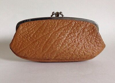 Tan Large Textured Leather 1950s Vintage Double Sided Coin Purse Mad Men