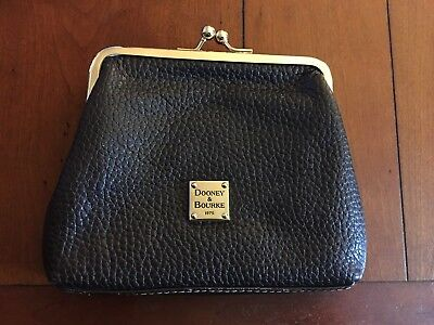 Dooney & Bourke Large Frame Dark Brown Kiss Lock Coin Purse Card - Excellent