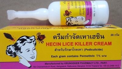 2 x 20 g. HECIN Lice Killer Hair Cream Eliminate Scabies lice Single Application