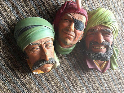 Vntg Bossons Chalkware England Hand Painted Head Wall Art Middle East Arab Hijab
