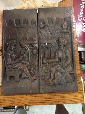 2 Vintage Bronzed Cast Iron Figurative Stove - Fireplace Plate Plaque