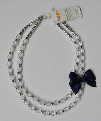 Nwt Gymboree Shimmer and Twirl Clear Bead Blue Bow Necklace girls 6 7 8 9 10 New