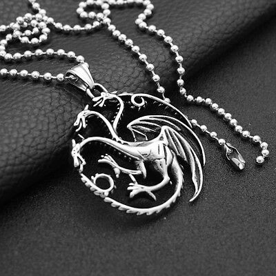 Vintage Stainless Steel Three Head Fire Dargon Pendant Necklace Men Jewelry