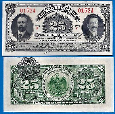 Mexico/Revolutionary S-1069 25 Centavos Year 1915 Banknote South America