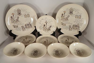 Marcrest GAY NINETIES 10-pc Lot Dinnerware Thunderbird Dinner Bread Plate Berry