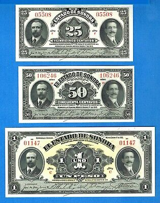 Mexico/Revolutionary S-1069 S-1070 S-1071 25 & 50 Centavos One Peso Year 1915