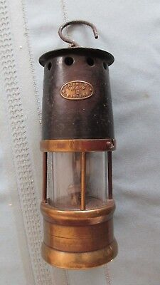 Brass & Steel 1909 Stanley Mines Disaster Safety Lamp-Miners Fund Lamp-England