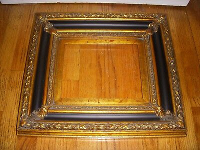 Antique Vintage Two Tone Black and Gold Heavy Ornate Wood Frame
