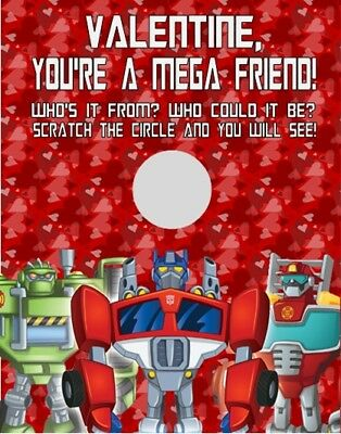 UNIQUE TRANSFORMERS RESCUE BOTS BIRTHDAY PARTY FAVOR SCRATCH OFF LOTTO GAME CARD