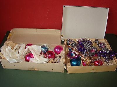 Job Lot of Vintage Glass Christmas Tree Baubles 1950's Traditional