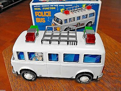 SON AI TOYS POLICE BUS DUAL FUNCTION BATTERY OP UNUSED in ORIG BOX TAIWAN c1980s