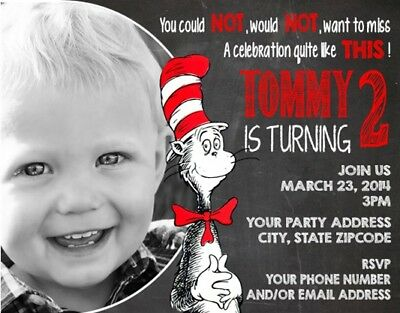 Cat in the Hat Dr Seuss Your Photo Birthday Party Invitations Personalized