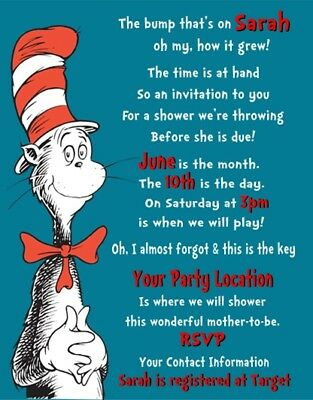 Cat in the Hat Dr Seuss Birthday Party Invitations Personalized