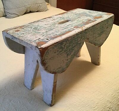 primitive Antique Farm Milking Stool, Bench, Bootjack Cut Outs, Chippy paint