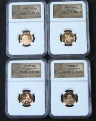 2009 S Proof Lincoln Bicentennial Cent/Penny Set(4) - NGC PF 69 Red Ultra Cameo