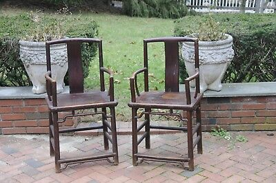 Pair of Antique Chinese Hardwood Chairs 19th Century