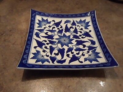Asian Floral Blue and White Porcelain Serving Dinner Plate Tray