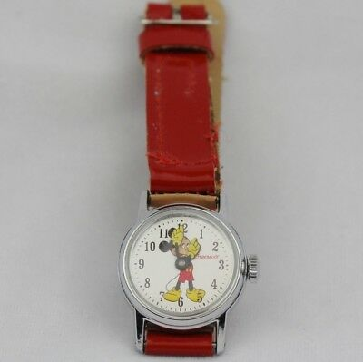 Vtg Ingersoll Mickey Mouse Watch Walt Disney Productions Red Band Wind Up Child