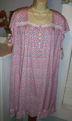 d17ea0c1e1 NWT 2X Eileen West Nightgown 100% Cotton Knit NEW Gown Spring Flowers PRETTY