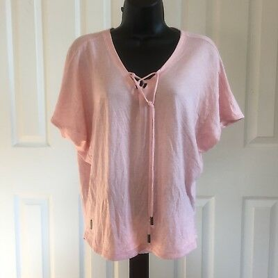 Women's Lole Short Sleeve T Shirt Size Small Pink Front Tie V Neck Casual