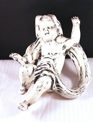 "Unusual 7"" Vtg Ceramic Porcelain Baby Cherub White Black Italy Art"