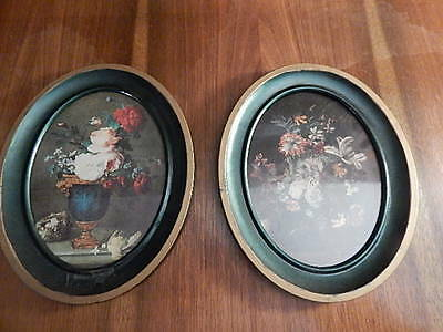 """Pair of vintage metal frames and pictures oval 10""""x8"""""""