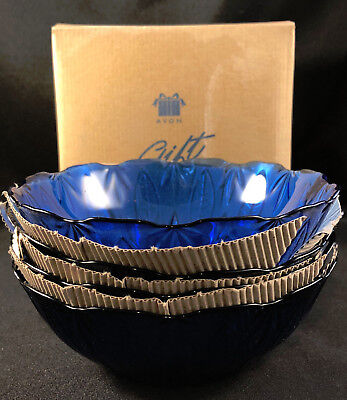 "Nib Nos Set Of 4 Avon Royal Sapphire Cobalt Blue 6.5"" Soup Cereal Bowls -- New!"