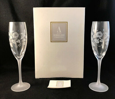 NIB NOS SET OF 2 AVON HUMMINGBIRD CRYSTAL CHAMPAGNE FLUTES GOBLETS -- NEW! - Qty