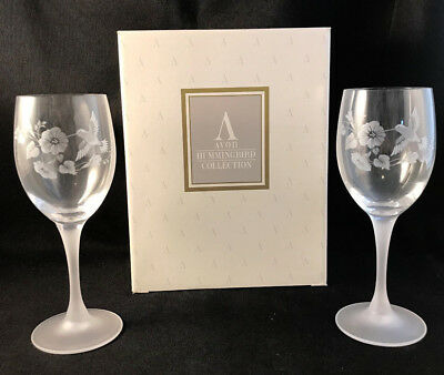 Nib Nos Set Of 2 Avon Hummingbird Crystal Wine Glasses Goblets -- New!