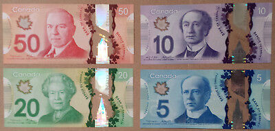 *Lot of 4 New Design Canada Canadian Polymer Banknotes Bills Currency*