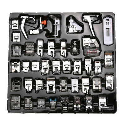 42 Pcs Domestic Sewing Machine Stitch Darning Presser Foot Feet Kit Set Home CN