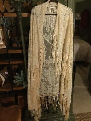 Antique Victorian 19th century Blonde Lace cotton/ silk shawl 50x50