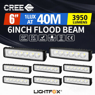 8 x 6inch 30W LED Work Light Bar Flood Beam Reverse Fog Light Offroad 4WD Truck