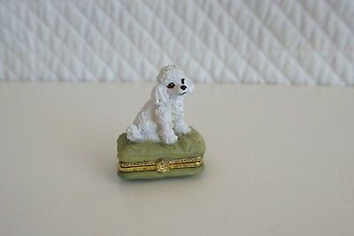 Vintage Small White Resin Poodle on Green Cushion Trinket Pill Box