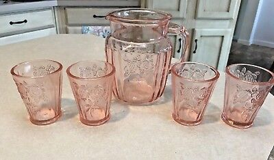 Vintage Anchor Hocking Mayfair Pink Depression Glass Pitcher & 4 Tumblers